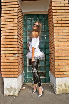 leather leggings zipper pants black feather white fashion streetstyle