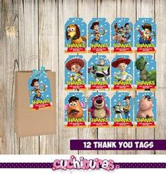 12 Toy Story Thank you Tags instant download Printable Toy