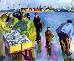 """Raoul Dufy was a French Fauvist painter, brother of Jean Dufy. """"The Fish Market"""". Suitable for Framing. André Derain, Raoul Dufy, Renoir, Monet, Jig Saw, Georges Braque, Post Impressionism, Art Prints For Sale, Scenic Design"""