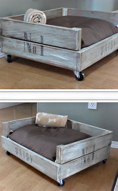 diy doggie bed...perfect comfy area just for Tilly in the living room! Blue pillow and yellow/green strips on the box!