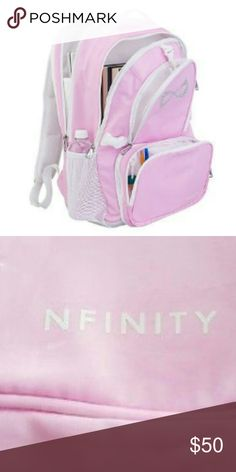 Nfinity Princess Backpack ★★Brand New★★ Pink/White. Nfinity? Princess Backpack is the perfect bag to get you from school to the gym or even 2 carry 2 competitions. Designed to stylishly hold all of your princess gear with four compartments. Includes a padded sleeve for a laptop and mesh padded shoulder straps and back to give you total comfort and support. Nfinity Bags Backpacks