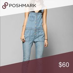 BDG denim button down slim fit overalls worn twice Urban Outfitters Jeans Overalls