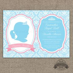 Cinderella Inspired Princess Silhouette Invitation AND Keepsake Poster - Pink and Grey Damask - Silhouette Cameo Tiara - Features a custom silhouette created from your digital photo - Any color and text!