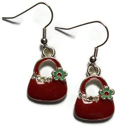 Red Purse Charm Earrings by CreationsByJanetUSA on Etsy, $6.99 Silver Earrings, Drop Earrings, Black Purses, Stocking Stuffers, Red Green, Handcrafted Jewelry, My Etsy Shop, Stockings, Charmed