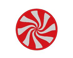 Peppermint Pinwheel Candy Christmas Embroidery by OCDEmbroidery