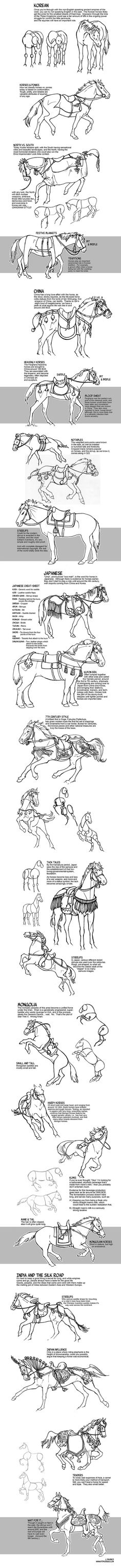 Historic Asian Horses by sketcherjak.devia... on @deviantART