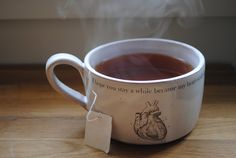 handmade thrown cappuccino/cocoa/coffee white mug, valentines, love, heart, housewarming gift, under 30