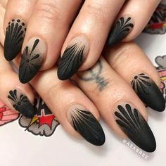 50 Dramatic Black Acrylic Nail Designs to Keep Your Style On Point - coffin #nails #nailscoffin #coffinnails #acrylicnails