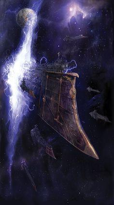 Battlefleet Gothic - Dauntless Class exiting the Warp.