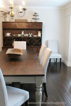 Exactly the look I want for my chairs and dining table.   So Much Better With Age   Painting The Dining Room   http://www.somuchbetterwithage.com