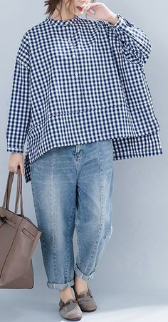 business casual outfits for women you. Chic blue Plaid cotton clothes For Women Casual Neckline stand collar Art shirt Diy Summer Clothes, Diy Clothes, Iranian Women Fashion, Fashion Women, Look Plus Size, Fall Fashion Outfits, Fashion Top, Business Casual Outfits, Casual Tops