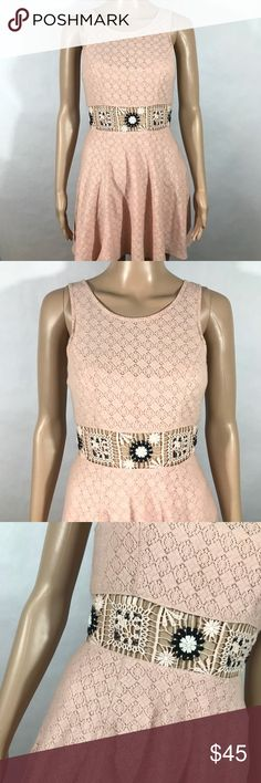 Free People Crotchet Waist Blush Pink Lace dress Armpit to armpit: 14 in across  Top of shoulder to bottom hem: 42 in  Smoke free home  Gently used without flaws Free People Dresses Mini