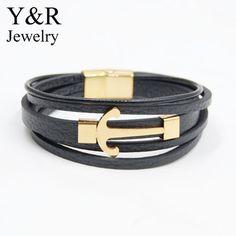genuine leather bracelet black braided leather gold plated anchor bracelet for men