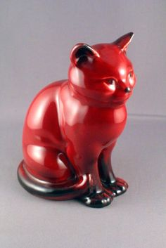 VERY RARE SYLVAC 2120 FLAMBE SEATED CAT FIGURINE - PERFECT