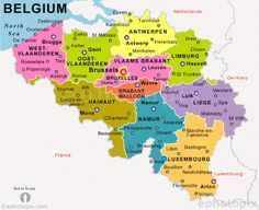 Located on the North Sea and our neighbors are : The Netherlands, Germany, Grand Duchy of Luxembourg and last but not least France. Belgium Map, Travel Belgium, Netherlands Map, Countries Europe, North Sea, State Map, Travel Memories, City Maps, Travel Images
