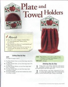 A HOMESPUN APPLE KITCHEN *PLATE & TOWEL HOLDERS 1/3* by ANGIE ARICKX 4/13