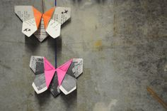 Origami butterflies combining embroidery and vintage papers