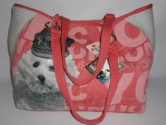 New FUZZY NATION Queen Tote Bichon Coral X-Large Bag Shopper NWT $98 Dog Puppy #FuzzyNation #TotesShoppers