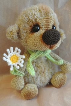 Bear handmade knitted brown Soft toy от VintageVilageShop на Etsy ♡ cute