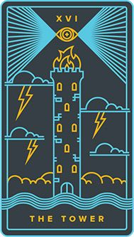 The meaning of The Tower from the Golden Thread Tarot Tarot deck: Because of circumstances beyond your control, you have no choice. The Tower Tarot Card, Golden Thread Tarot, Tarot Card Tattoo, Tarot Meanings, Tarot Major Arcana, Tarot Decks, Deck Of Cards, Tarot Cards, Graphic Design