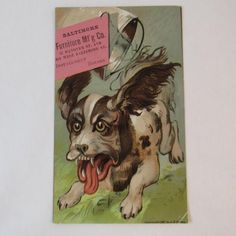 1881 Dog Trade Card Baltimore Furniture Manufacturing Co