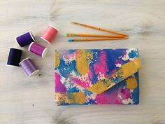 Pink and blue envelope clutch hand painted by MyALaModeBoutique