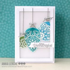 "51 Likes, 6 Comments - Anika Lerche (@annikarten) on Instagram: ""I made two cards using the Delicate Decorations by @createasmilestamps ! #christmascards…"""