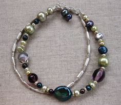 Jewel Tone Seas - pearl silver double coastal bracelet Fall colors!  - by SeaSide Strands