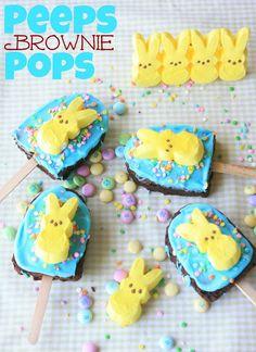 Munchkin Munchies: Peeps Brownie Pops. Would look so cute in an Easter basket.