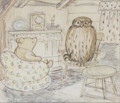 Ernest Howard Shepard (British, 1879-1976). Pooh visiting in Owl's parlour, pen and ink and coloured pencil,  10.5 x 12cm (4 1/8 x 4 3/4in).