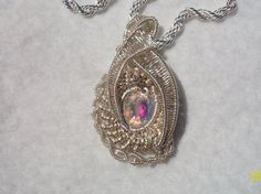 Mystic Topaz Silver Plated Heady Wire Wrap Pendant Handcrafted Unique Piece