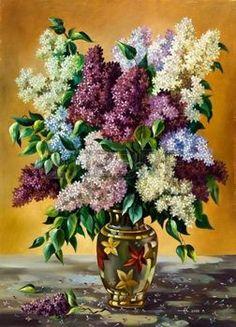 fleur peinture: Bouquet lilas dans un vase Banque d
