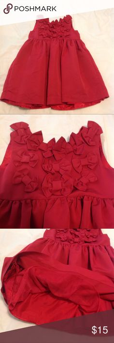 Red toddler formal dress 3 button closure. Bow detailing in top front for decoration. Lined. Sleeveless. Baby Gap Dresses Formal
