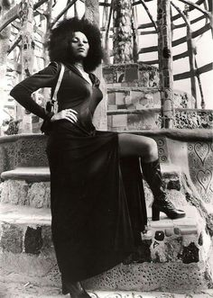 Pam Grier at the Watts Towers wearing her crown ~ Kai
