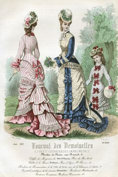 1870s A girl in a simple dress decorated with bows from the August 1876 edition of Journal des Demoiselles.