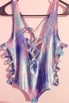 Pastel colored tie dye bodysuit edc coachella by WanderandDaze