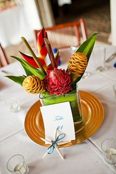 tropical wedding flowers Costa Rica Destination Wedding by A Brit and A Blonde http://abritandablonde.com/