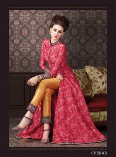17b5e88246 Stunning pink floral print kameez with golden straight pants is beautifully  made with floral digital print, zip and mirror work.