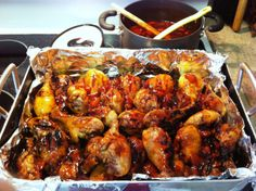 """Sweet n'Sour Chicken Legs...a week before the holiday I make up a big batch of these """"fall off the bone"""" chicken legs and store them in the freezer until we gather together.  I take them out of the freezer the night before and pop them into the oven or a crock-pot to heat before serving."""