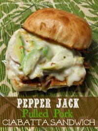 Pepper Jack Pulled Pork Ciabatta Sandwich on MyRecipeMagic.com #slowcooker #pork #pepperjack #ciabatta