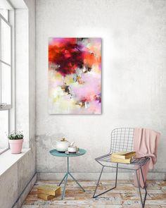 Original large abstract painting original art red orange