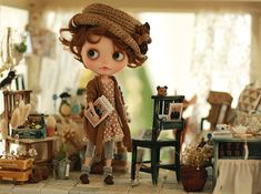 Pre-order - Miss yo 2015 Spring & Summer - Mori Style Sweater for Blythe / JerryBerry doll - dress / outfit - Brown