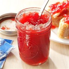 Pineapple-Rhubarb Jam Recipe -Rhubarb, pineapple and strawberry make an awesome jam that brings back memories of living on a farm and growing my own rhubarb. — Debbi Barate, Seward, Pennsylvania love this recipe have used for many years and again in vera Rhubarb Jelly, Strawberry Rhubarb Jam, Rhubarb Pineapple Jam Recipe, Rhubarb Gin, Rhubarb Syrup, Rhubarb Cake, Ketchup, Best Rhubarb Recipes, Rhubarb Jam Recipes Canning