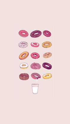 Delicious Donuts Milk Glass Illustration iPhone 6 Wallpaper