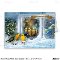 Happy Hanukkah, Merry Christmas, Happy New Year, Season's Greetings. Snow Scene with Menorah Painting Winter Season's Customizable Greeting Cards. Matching cards, postage stamps and other products available in the Jewish Holidays / Hanukkah Category of the artofmairin store at zazzle.com