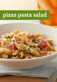 "Pizza Pasta Salad — Pizza Pasta Salad has all the flavors you love in one unbelievably easy-to-make dish. How easy? ""Combine ingredients."" (That easy.)"