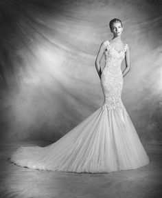 Atelier Pronovias 2016 Collection - Designer Wedding Dress - An illusion neckline wedding dress in mermaid silhouette with cascading lace appliques and gemstone embroidery, featuring V-back detailing.