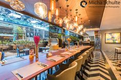 The long table in the the restaurant Metta at Maitria Hotel in Bangkok photographed by Micha Schulte, http://michaschulte.com