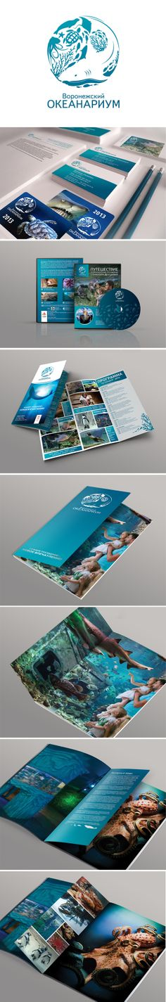 Воронежский океанариум by Nadezhda Larionova, via Behance  Разработка логотипа и визуальной идентичности для воронежского океанариума