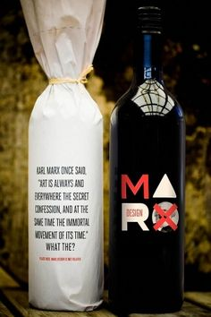 Marx Wine - Wine Packaging Blog - The Dieline Wine Alternative #ecofriendly #green #packagedesign using quotes.